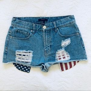 FOREVER21 American flag jean shorts jorts size 26